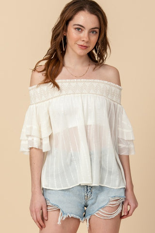 OFF THE SHOULDER TOP WITH BACK KEYHOLE DETAIL - Bedazzled Closet