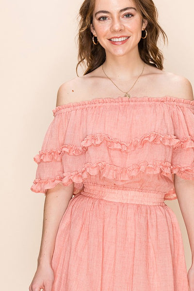 OFF THE SHOULDER DRESS WITH RUFFLE TRIM - Bedazzled Closet