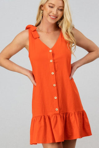 RUFFLED HEM BUTTON DOWN SLEEVELESS MINI DRESS - Bedazzled Closet