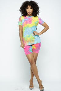 TIE DYE TOP AND BIKER SHORT SET - Bedazzled Closet