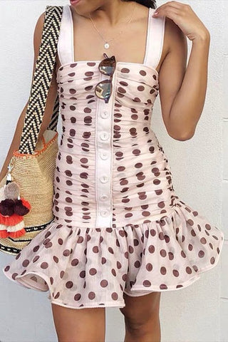 POLKA DOT SLEEVELESS PLEATED MINI DRESS - Bedazzled Closet