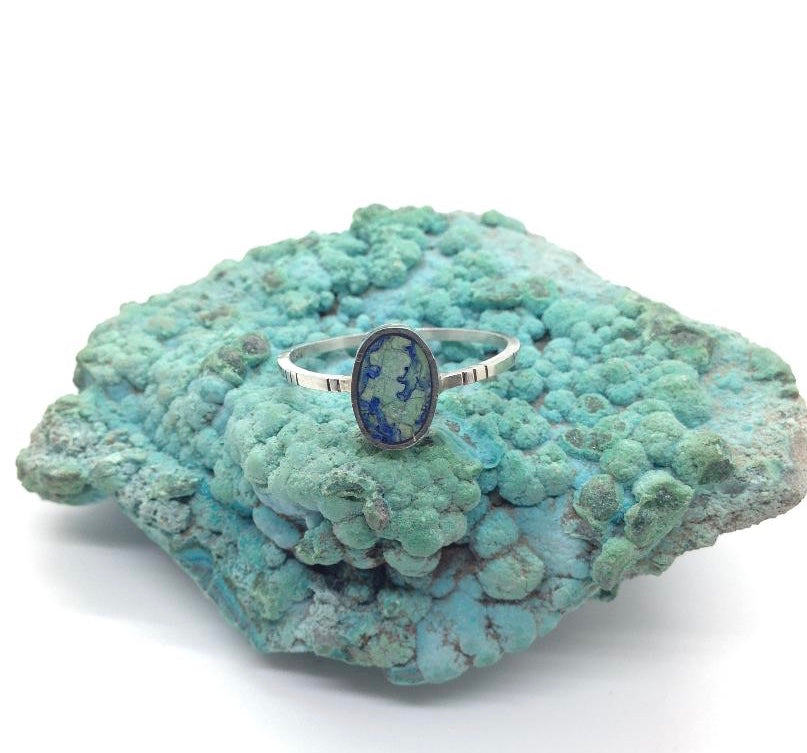 Young in the Mountains Azurite and Silver Ring Size 9.25