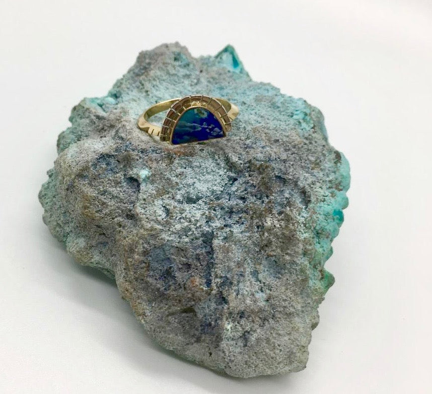 Young in the Mountains Azurite Selene Ring Size 6.5