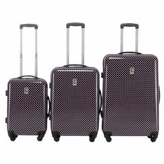 Champs Artist Pink Polka Dot Collection 3 Piece Luggage Set - BuyBags