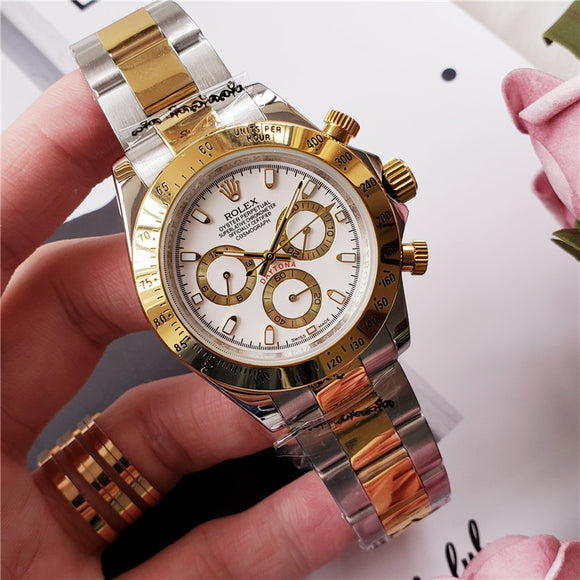 Rolex Fully  Automatic Fashion Golden Stainless Steel Date Sports Mechanical Wristwatch Clock