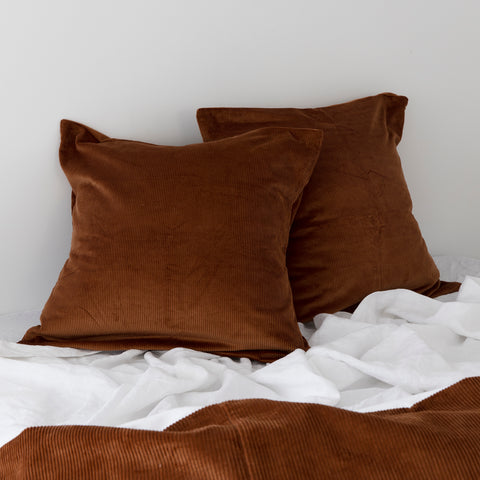 Sloane corduroy euro pillows in terracotta colour, a perfect winter fabric