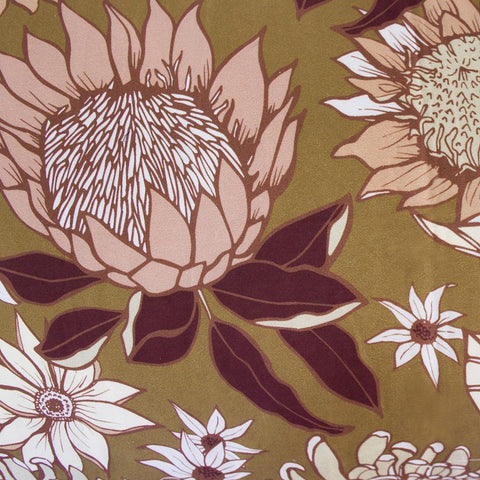 Printed floral quilt cover design by Bambury called Araluen, on an ochre background and featuring proteas
