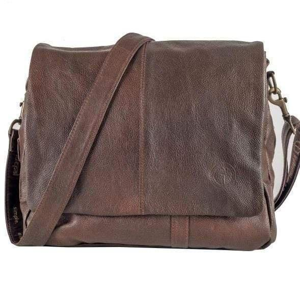 Buy Brolly Leather Satchel - Brown by Indepal - at White Doors & Co