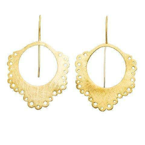 Buy Doily Earrings - Gold by RubyTeva - at White Doors & Co