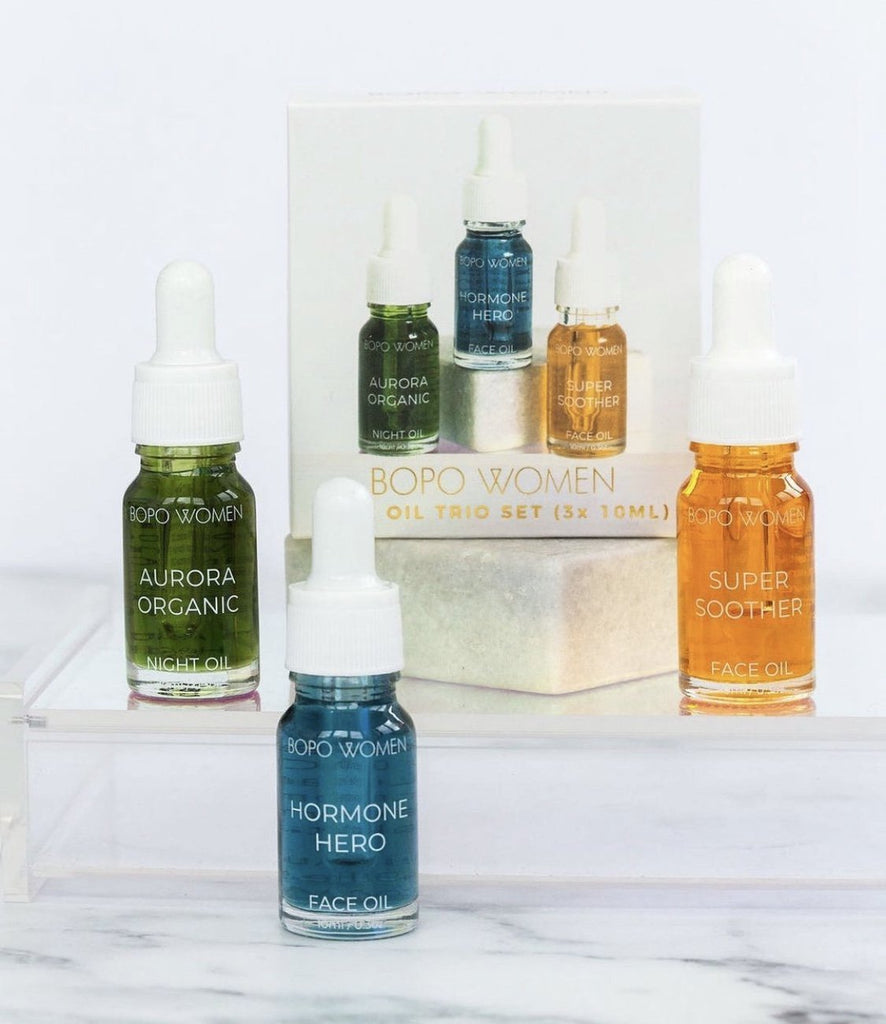 Buy Face Oil Trio by Bopo Woman - at White Doors & Co