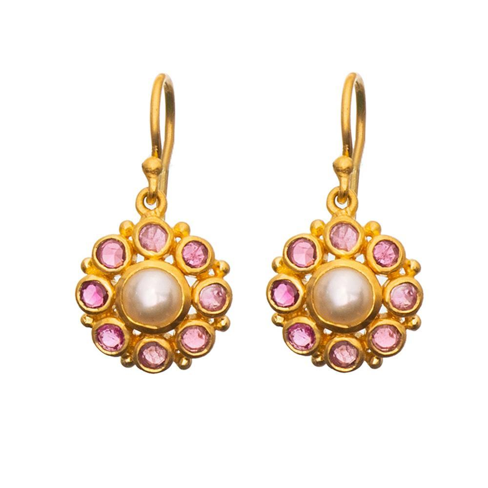 Buy Gypsy Earrings - Pearl & Pink by RubyTeva - at White Doors & Co