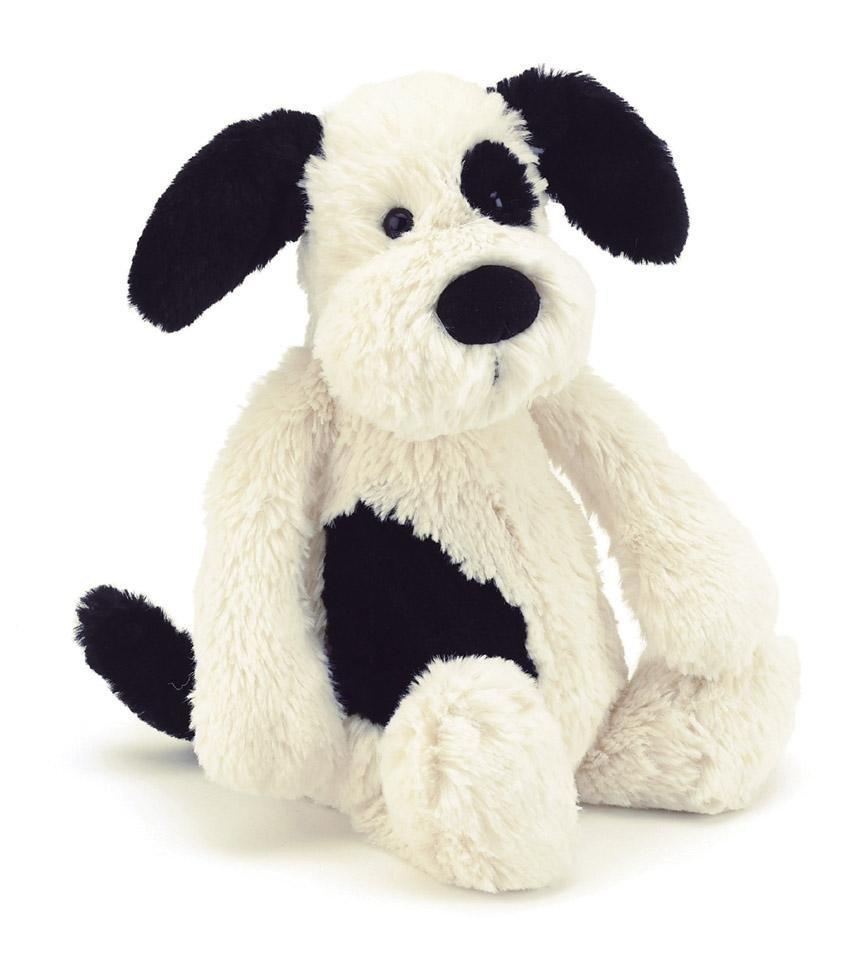 Buy Jellycat Bashful Black & Cream Puppy Medium by Jellycat - at White Doors & Co