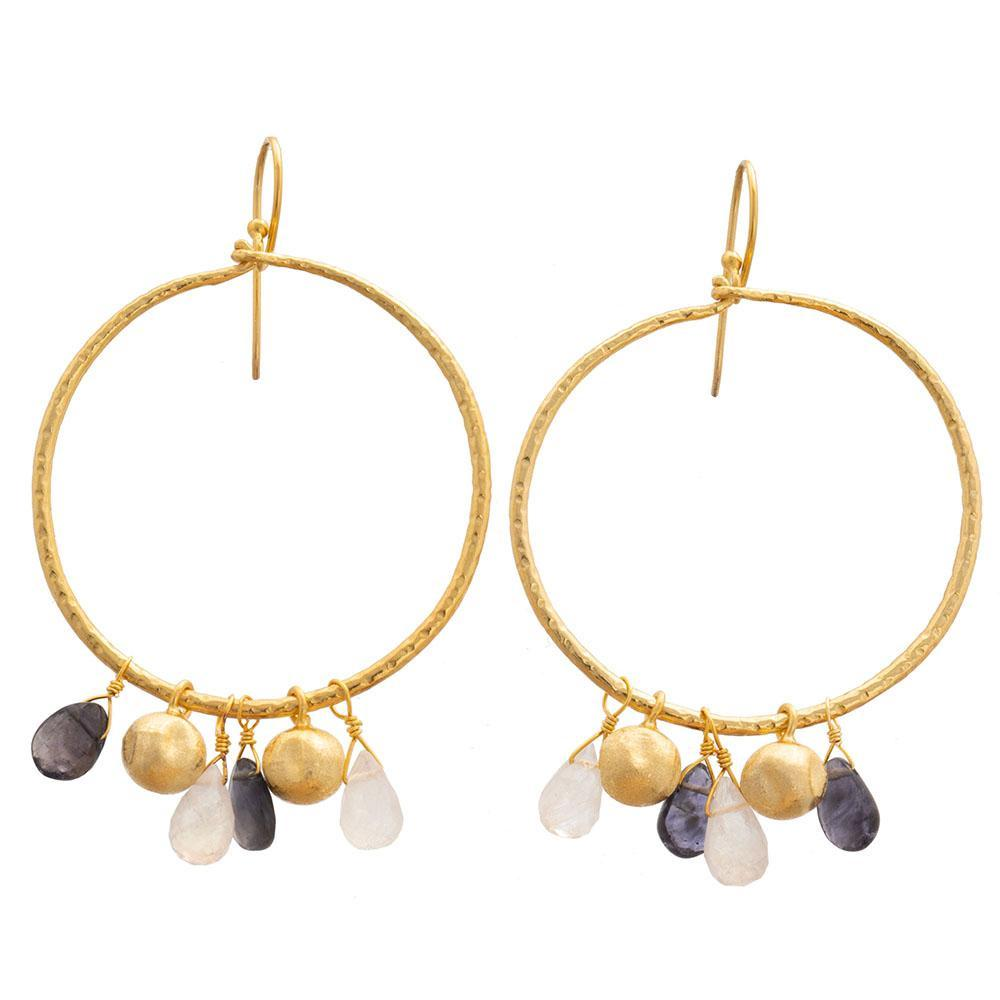 Buy Lolite & Moonstone Hoop Earrings by RubyTeva - at White Doors & Co