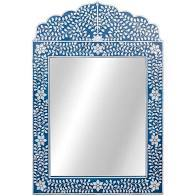 Buy Mother of Pearl Mirror Navy Blue by Ruby Star Traders - at White Doors & Co