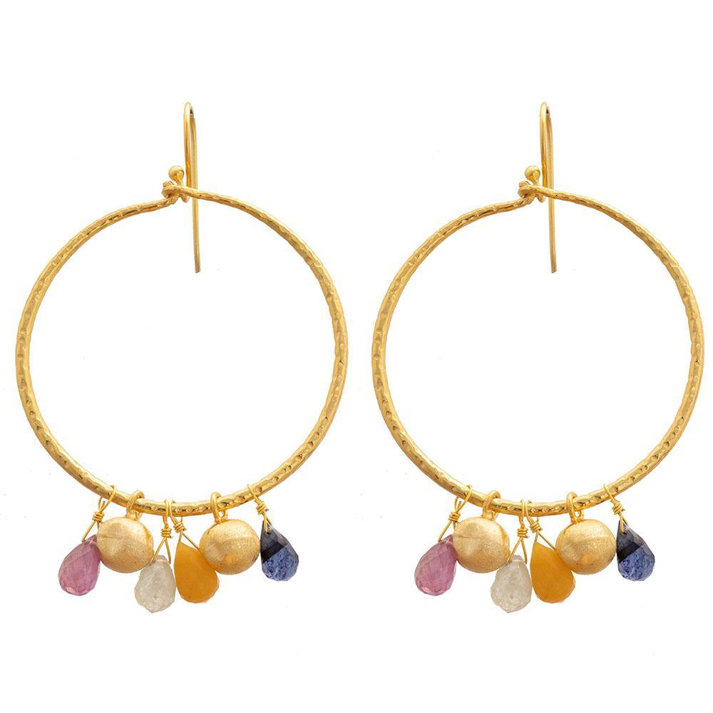 Buy Multi Sapphire Hoop Earrings by RubyTeva - at White Doors & Co