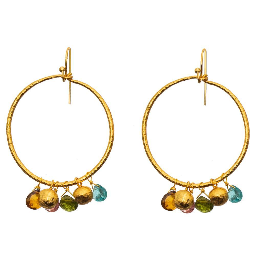 Buy Multi Tourmaline & Apatite Hoop earrings by RubyTeva - at White Doors & Co