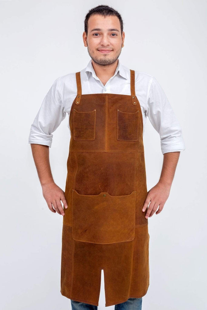 Buy Oliver Leather Apron - Tan by Indepal - at White Doors & Co