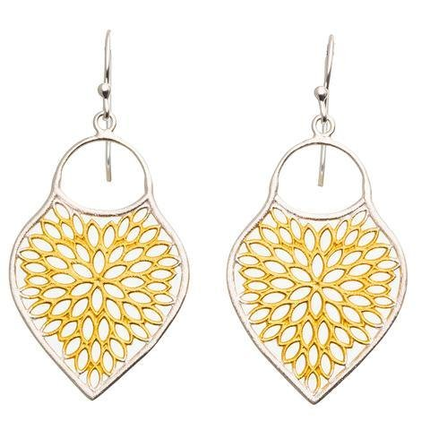 Buy RT Gold&Silver Lotus Earrings by RubyTeva - at White Doors & Co