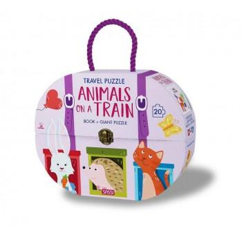 Buy Sassi Travel Giant Puzzle & Books -Animals on a Train by Axis - at White Doors & Co