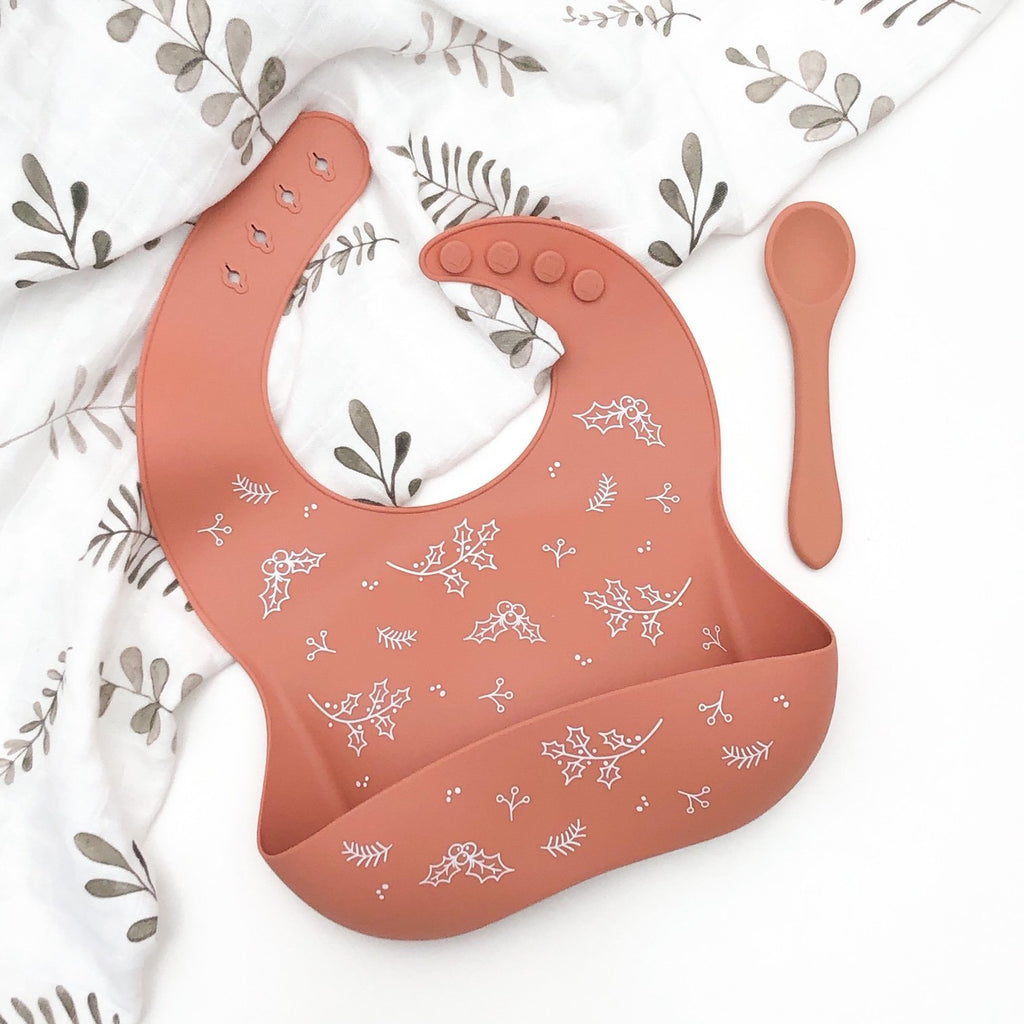 Buy Silcone Catch Bib & Spoon Christmas - Spice by One Chew Three - at White Doors & Co
