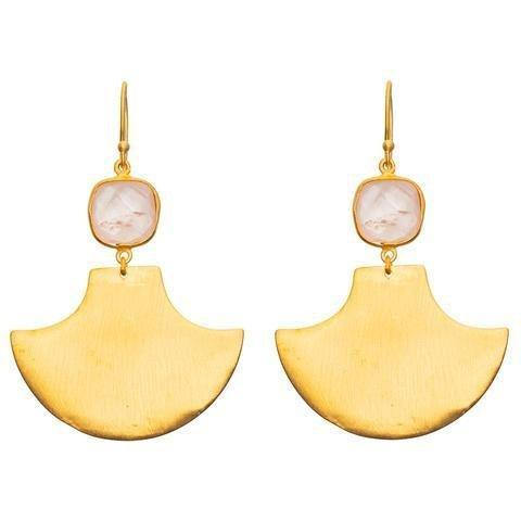 Buy Square Earrings - Rose Quartz by RubyTeva - at White Doors & Co