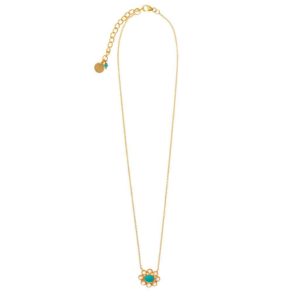 Buy Turquoise & Rose Quartz Flower Necklace by RubyTeva - at White Doors & Co