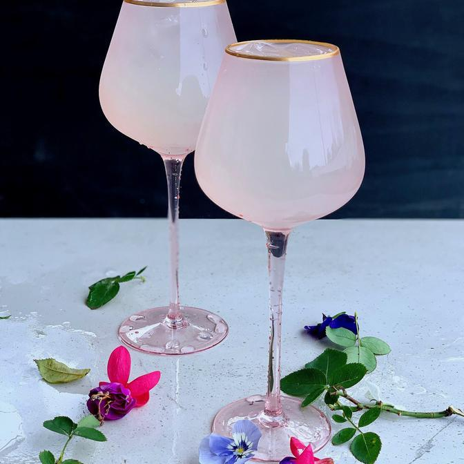 Buy Wine Glasses Pink by The Source - at White Doors & Co