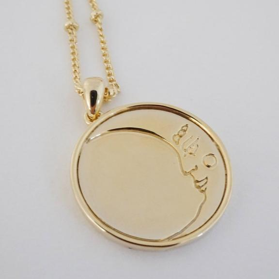 Honeycat - Moon Face Pendant Necklace - Gold