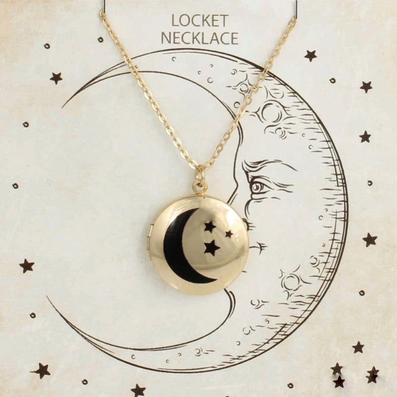 Z - Moon Locket Necklace - Gold