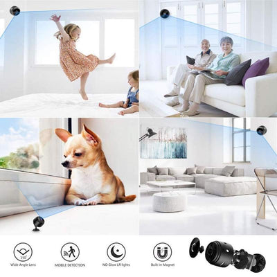 Tiny™Cam 1080 with SD Card - Mini WiFi Camera - HD 1080P Wireless Indoor Camera - Night Vision - Audio - Motion Detection