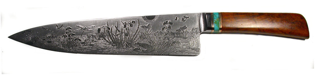 10 inch Chef's Knife with 'Dragonflies and Irises' Etching.
