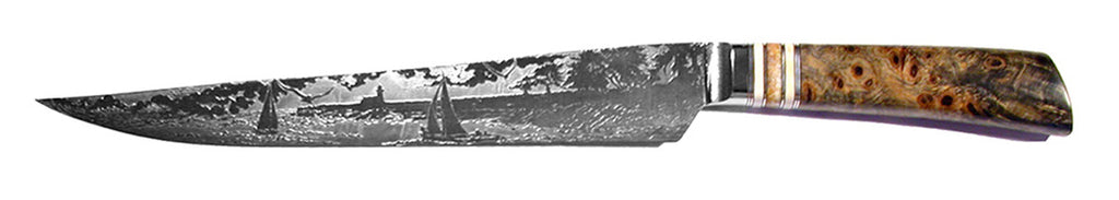 10 inch Carving Knife with 'Lighthouse with Sailboats' Etching - 2.
