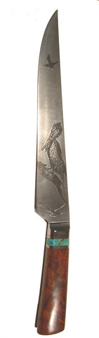 10 inch Carving Knife with 'Three Pelicans' Etching.