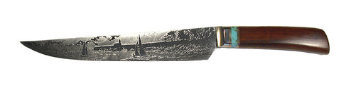 10 inch Carving Knife with 'Lighthouse with Sailboats' Etching