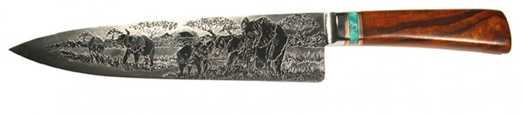 10 inch Chef's Knife with 'Elephants' Etching.