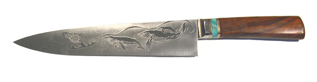 10 inch Chef's Knife with 'Whales' Etching.