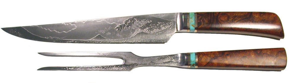 10 inch Carving Set with 'Tsunami' Etching.