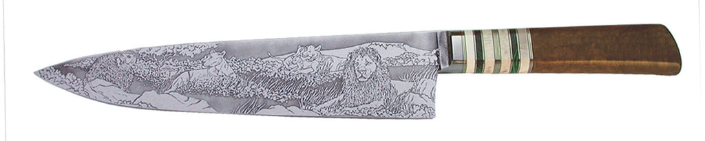 10 inch Chef's Knife with 'Pride of Lions' Etching.