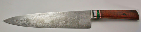 10 inch Chef's Knife with 'Elephants' Etching - 2.