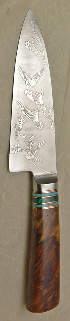 6 inch Chef's Knife with '3 Hummingbirds' Etching.