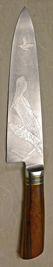 8 inch Chef's Knife with '3 Pelicans' Etching.