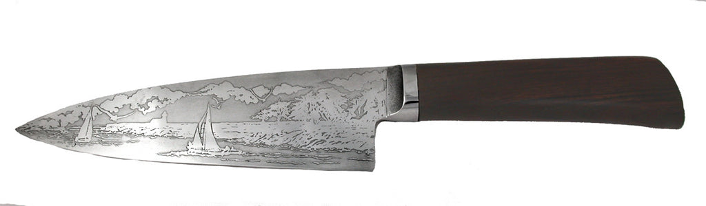 6 inch Chef's Knife with 'Lighthouse with Sailboats' Etching and Desert Ironwood Handle - 2.