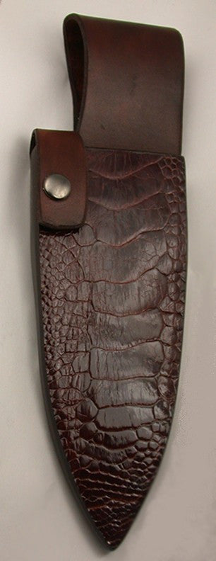 "Brown Ostrich Belt Sheath for 6"" Chef's Knife."