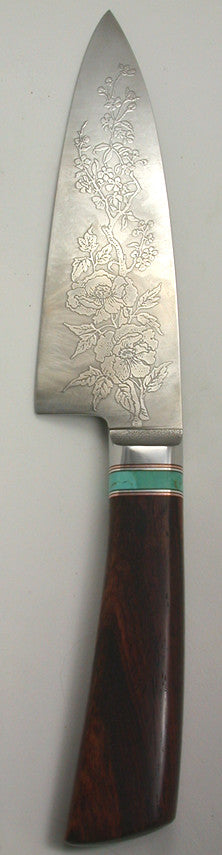 6 inch Chef's Knife with 'Wild Roses' Etching - 2.