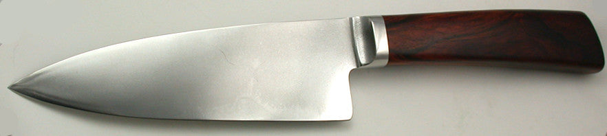 6 inch Chef's Knife with Plain Etched Blade & Cocobolo Handle.