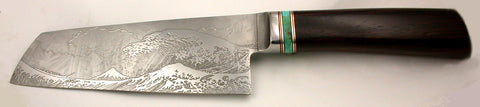 6 inch Chopper with 'Tsunami' Etching - 2.