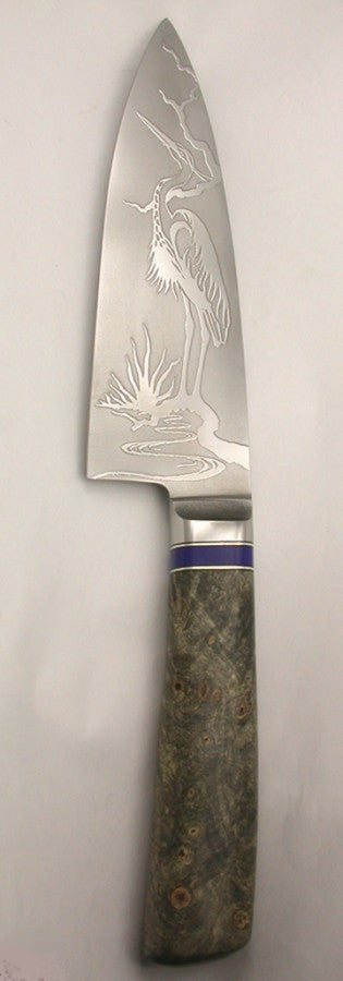 6 inch Chef's Knife with 'Heron' Etching.