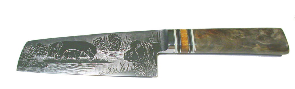 6 inch Chopper with 'Hippos' Etching.