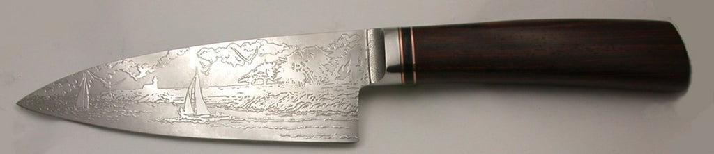 6 inch Chef's Knife with 'Lighthouse with Sailboats' Etching and Cocobolo Handle.