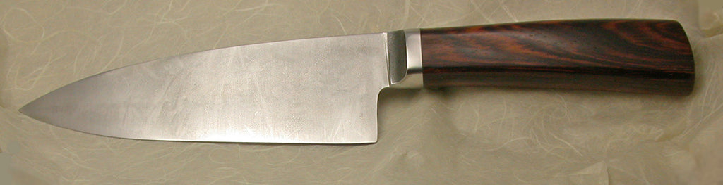 6 inch Chef's Knife with Plain Etched Blade & Cocobolo Handle - 2.